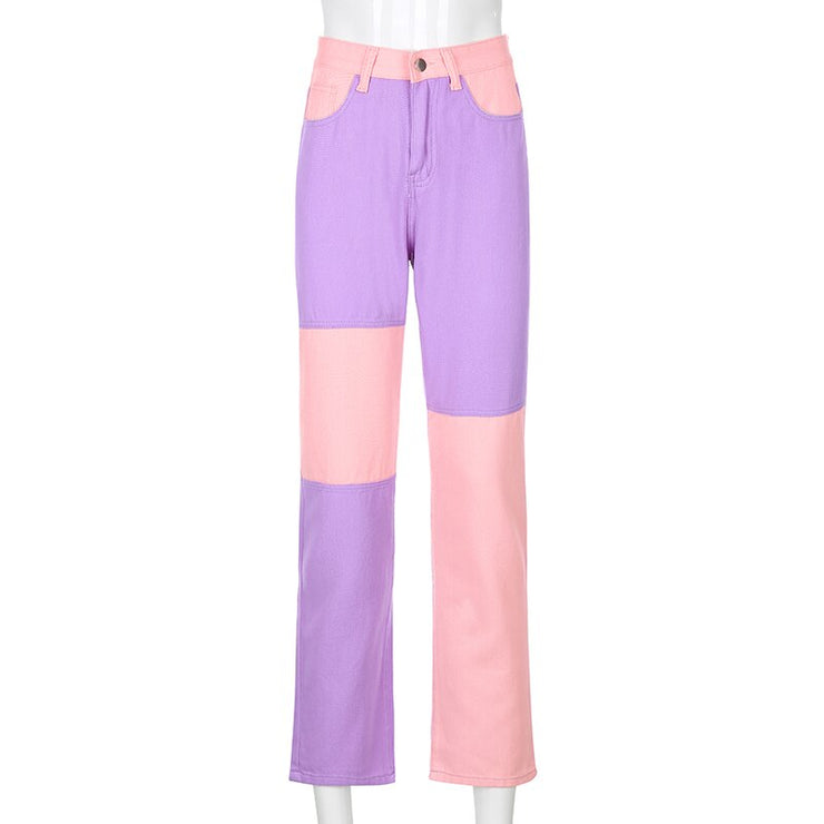 Pink/Purple/Blue Patchwork Jeans - Own Saviour - Free worldwide shipping