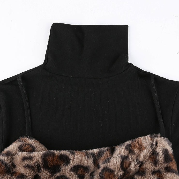 Leopard Faux Fur Turtleneck Top - Own Saviour - Free worldwide shipping