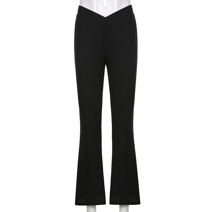 Low V Waist Black Flares - Own Saviour