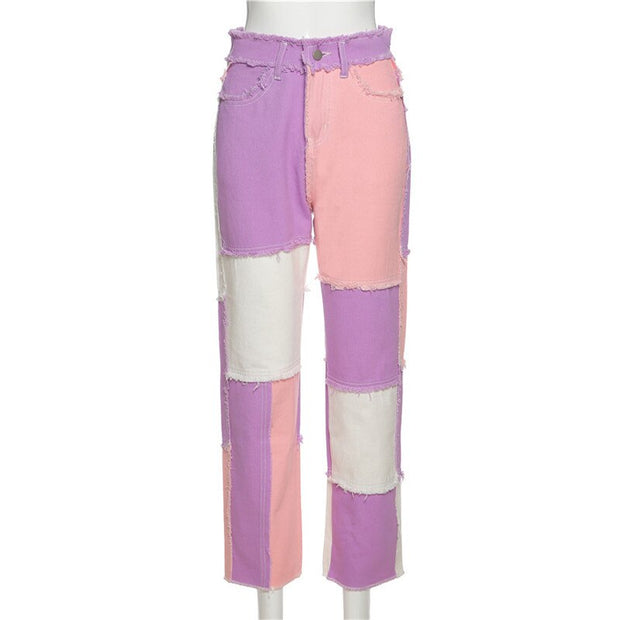 Pink Purple White Patchwork Jeans - Own Saviour - Free worldwide shipping
