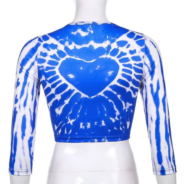 Blue Heart Tie Dye Crop