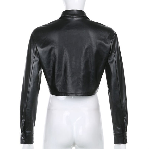 Black/White Faux Leather Shirt Jacket - Own Saviour