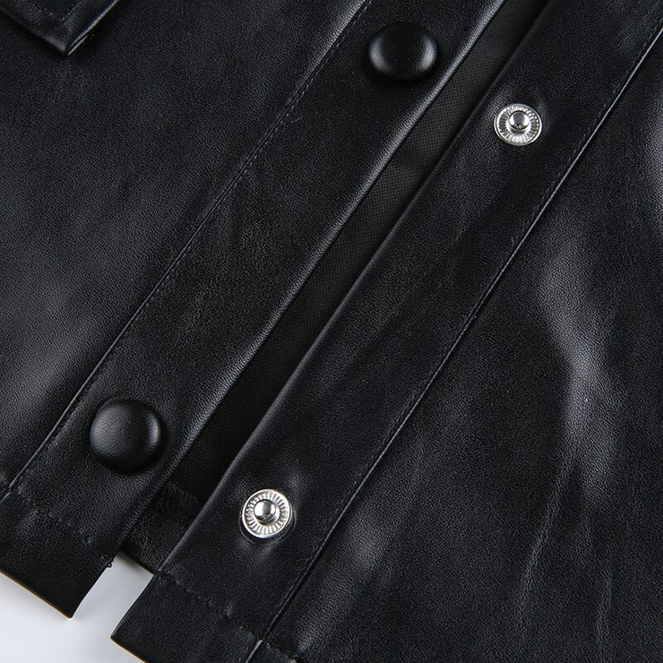 Black/White Faux Leather Shirt Jacket - Own Saviour - Free worldwide shipping