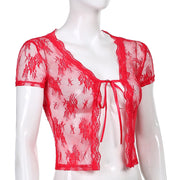 Red Lace Mesh Crop - Own Saviour