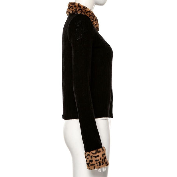 Leopard Cuff Zip Cardi - Own Saviour - Free worldwide shipping