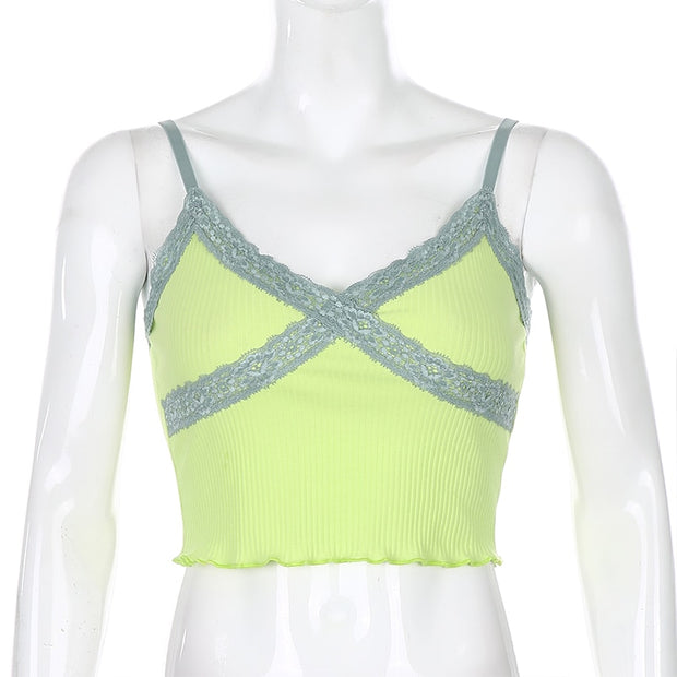 Neon Lace Frill Cami Crop - Own Saviour - Free worldwide shipping