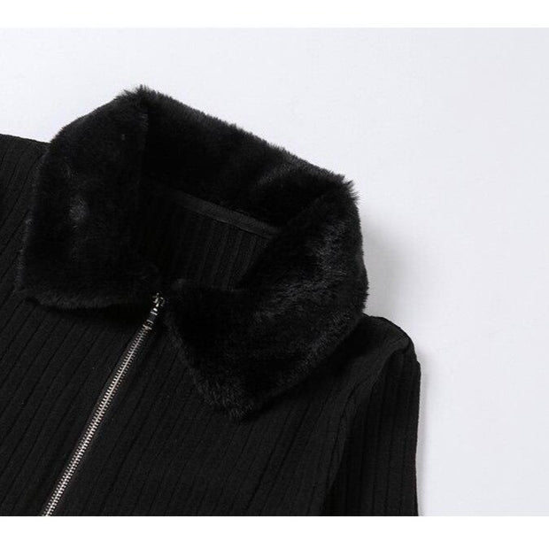 Faux Fur Trim Cardi - Own Saviour