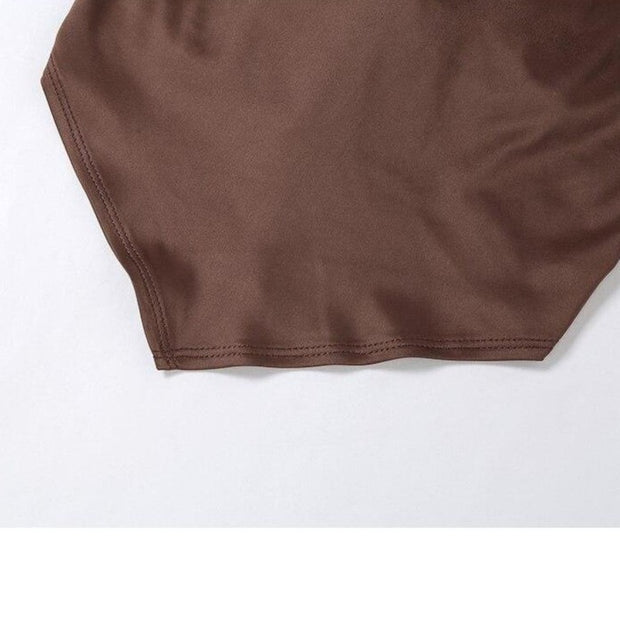 Brown Point Backless Top