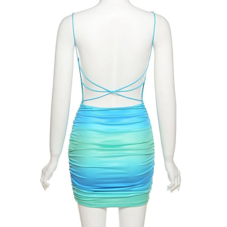 Tie Dye Stripe Backless Mini Dress - Own Saviour