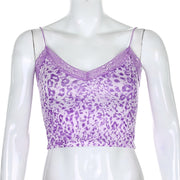 Colour Leopard Frill Cami Crop