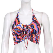 Bright Paisley Ruched Halter Crop - Own Saviour