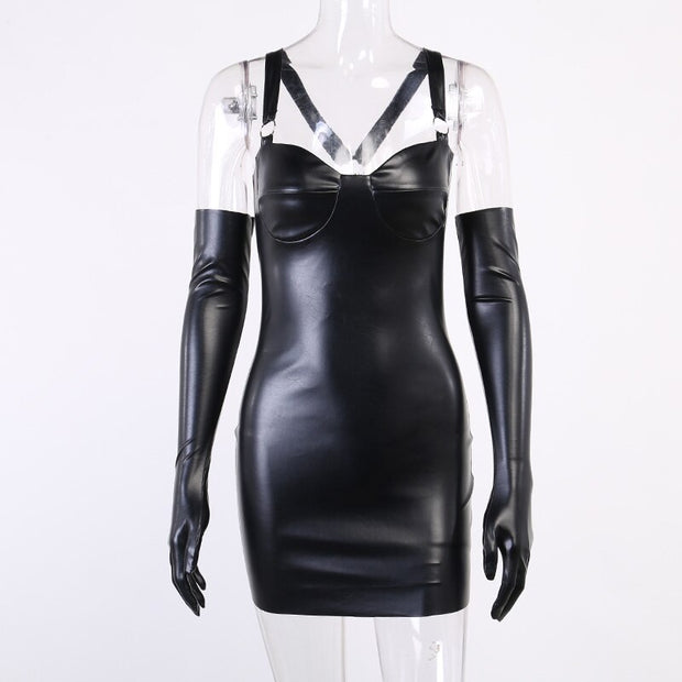 Faux Leather Glove Dress