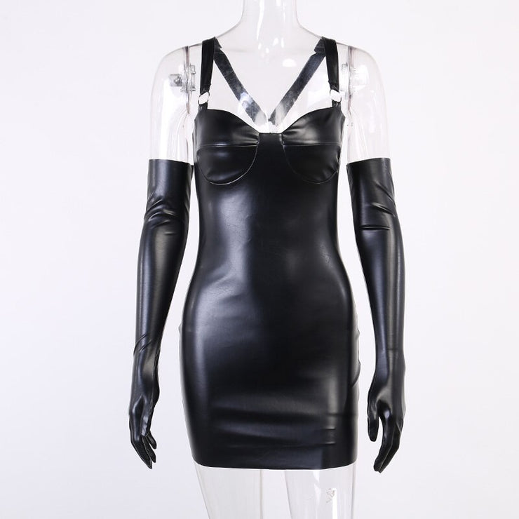 Faux Leather Glove Dress - Own Saviour - Free worldwide shipping