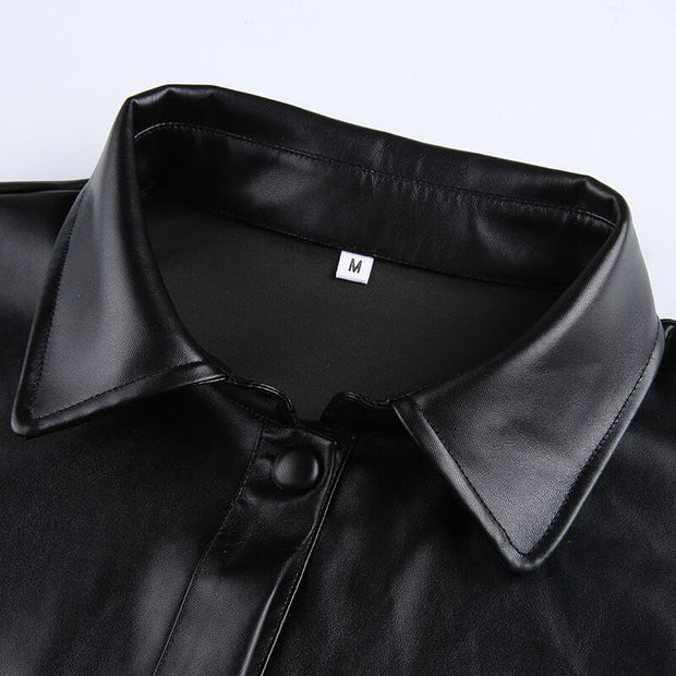 Crop Faux Leather Shirt Jacket - Own Saviour