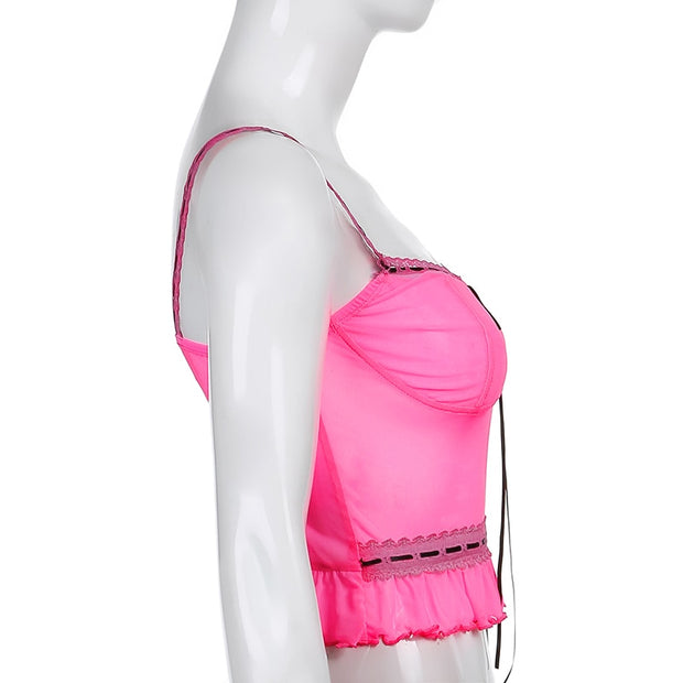 Neon Pink Ruffle Cami - Own Saviour - Free worldwide shipping