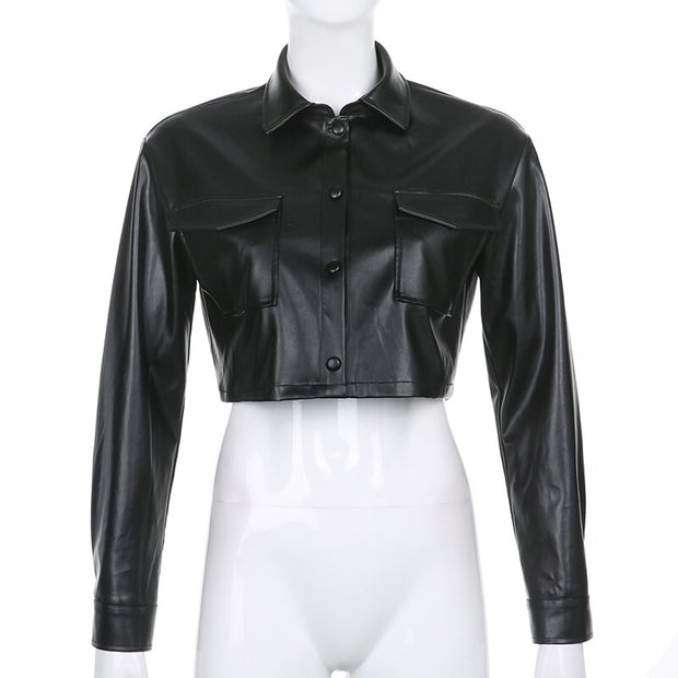 Crop Faux Leather Shirt Jacket - Own Saviour - Free worldwide shipping