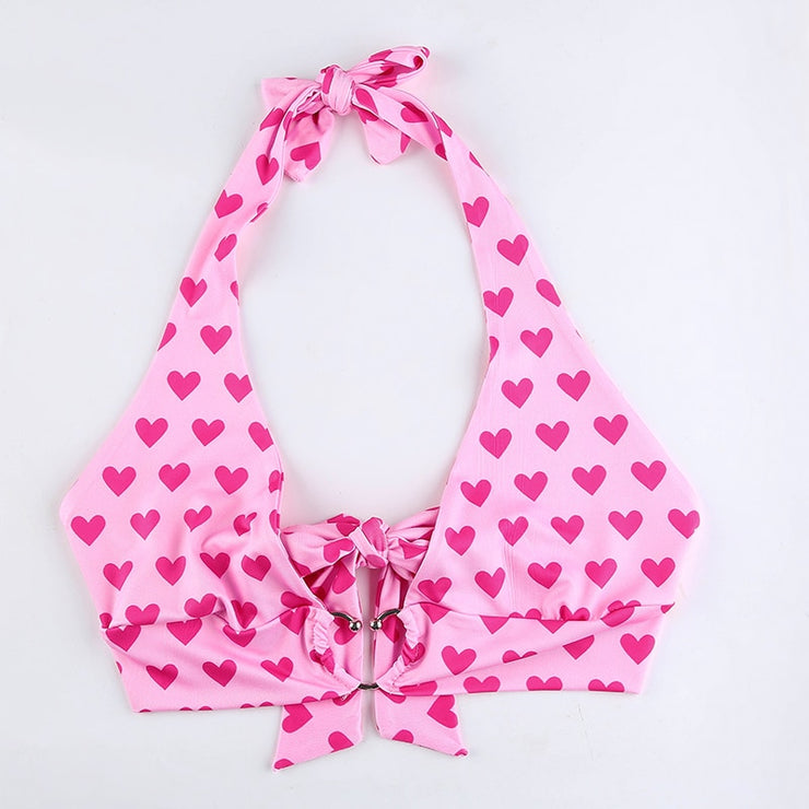 Pink Heart Ring Halter Crop - Own Saviour - Free worldwide shipping
