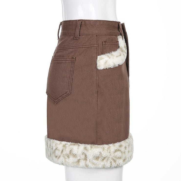 Leopard Faux Fur Mini Skirt - Own Saviour