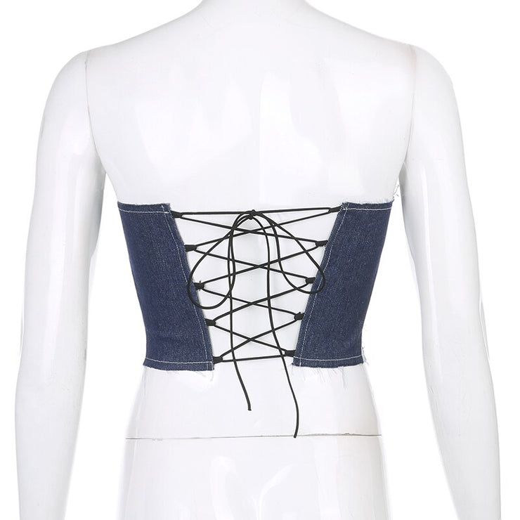 Denim Patchwork Bustier Crop - Own Saviour