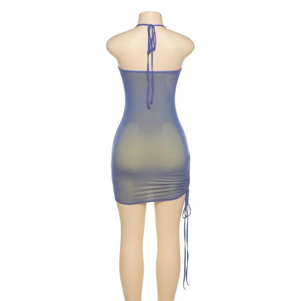 Holo Ruched Halter Dress - Own Saviour - Free worldwide shipping