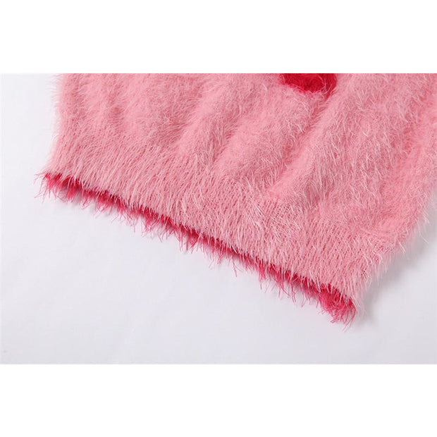 Fuzzy Cherry Knit Crop - Own Saviour