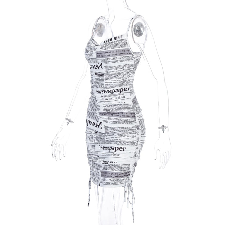 Newspaper Ruched Dress - Own Saviour - Free worldwide shipping