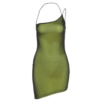 Green Holo Asymmetric Dress