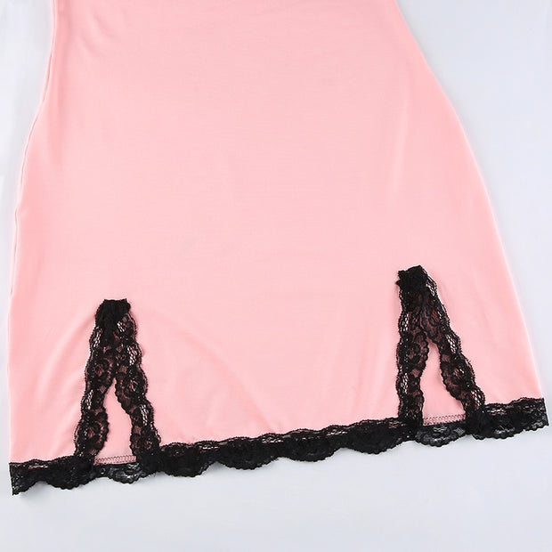 Pink Lace Trim Mini Dress
