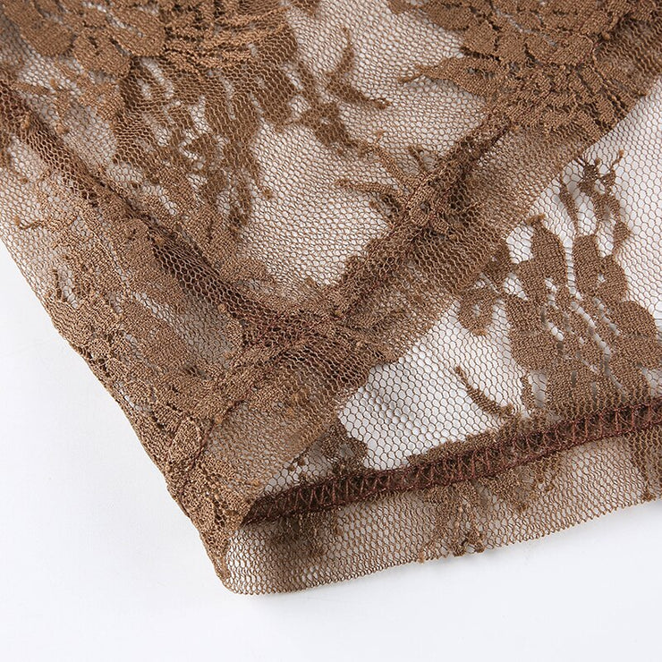 Brown Lace Mesh Crop - Own Saviour - Free worldwide shipping
