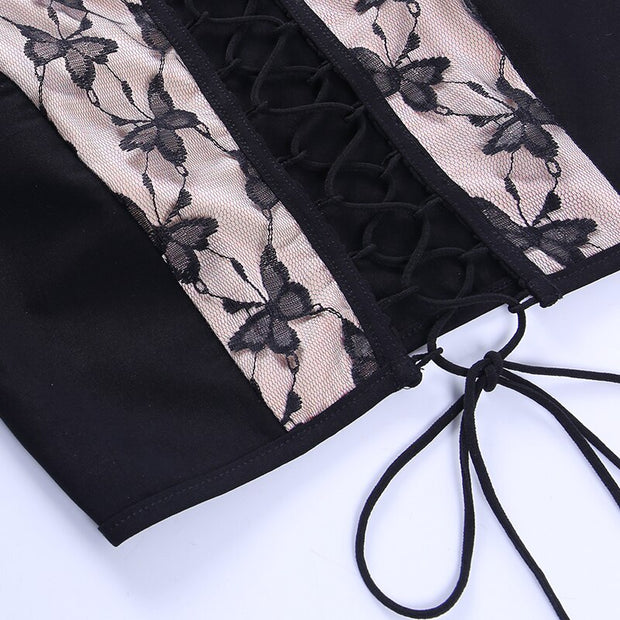 Lace Butterfly Corset Crop - Own Saviour - Free worldwide shipping