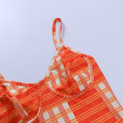 Orange Plaid Cami Crop - Own Saviour - Free worldwide shipping