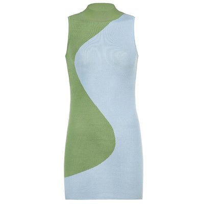 Blue Green Splice Yin Dress - Own Saviour