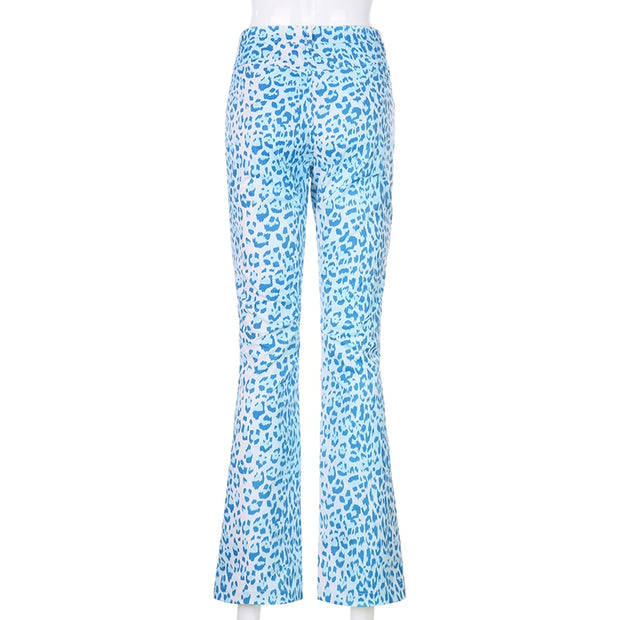 Blue Leopard Flare Pants
