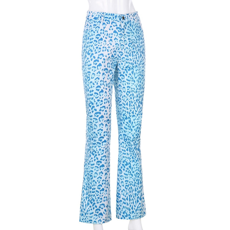 Blue Leopard Flare Pants - Own Saviour - Free worldwide shipping