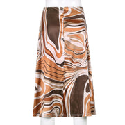 Brown Swirl Midi Skirt - Own Saviour