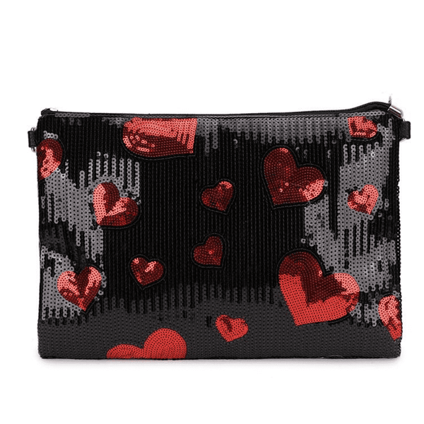 Sequin Heart Clutch Bag