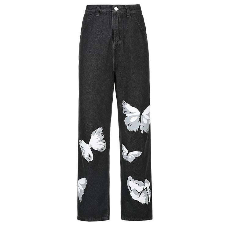 Black White Butterfly Jeans - Own Saviour