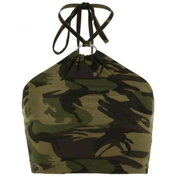 Camo Ring Halter Crop-Own Saviour