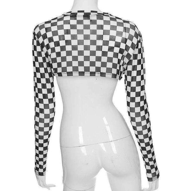 Checkerboard Cropped Top - Own Saviour - Free worldwide shipping