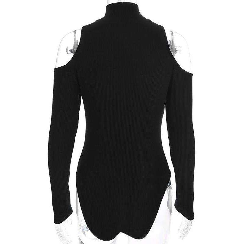 Cold Shoulder Zipper Bodysuit - Own Saviour