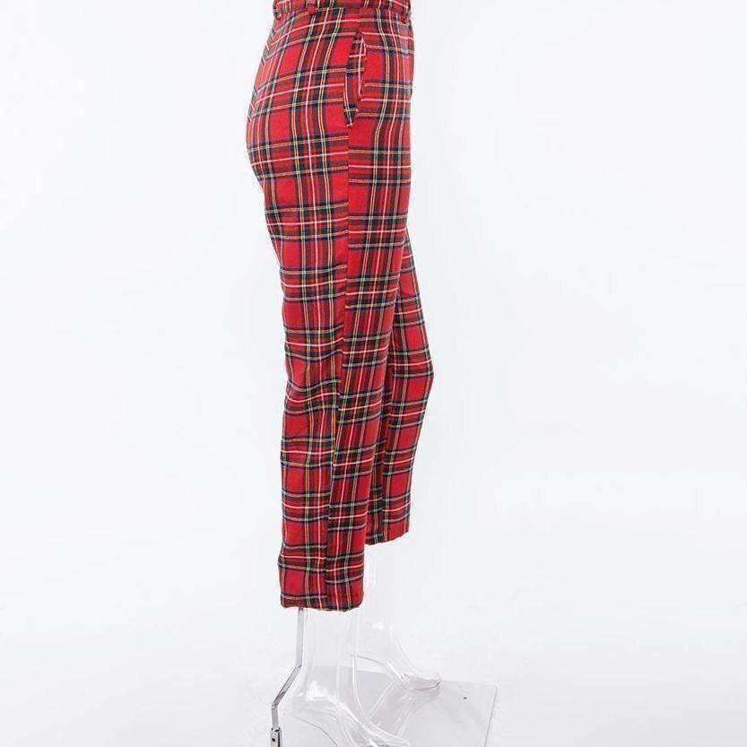 Fergie Red Plaid Slim Pants - Own Saviour