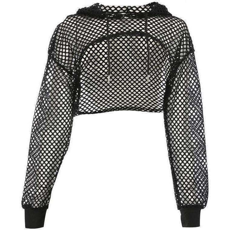 Fishnet Mesh Super Crop Hoodie - Own Saviour - Free worldwide shipping