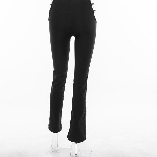 Hip Cut Out Flare Pants - Own Saviour - Free worldwide shipping