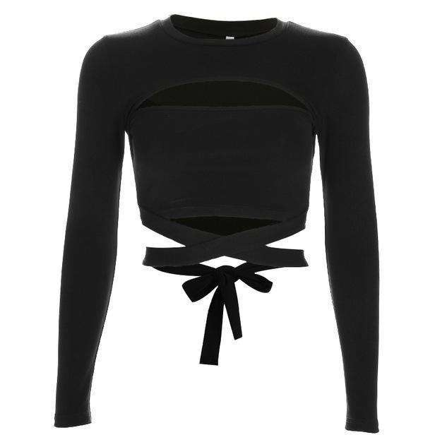 Noir Bandage Wrap Crop-Own Saviour