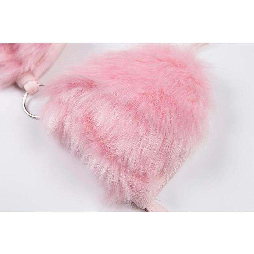 Pink Faux Fur Bra Crop-Own Saviour