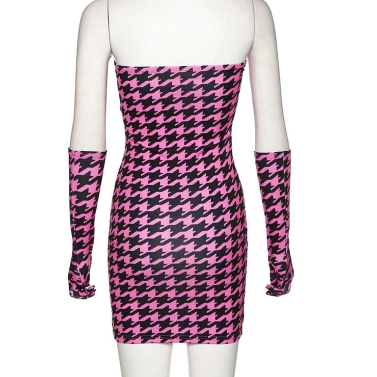 Dogtooth Gloved Dress