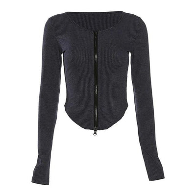 Scoop Hem Zip Cardi - Own Saviour - Free worldwide shipping