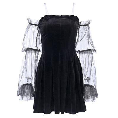 Velvet Mesh Dress - Own Saviour - Free worldwide shipping