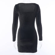 Square Neck Velvet Dress - Own Saviour - Free worldwide shipping