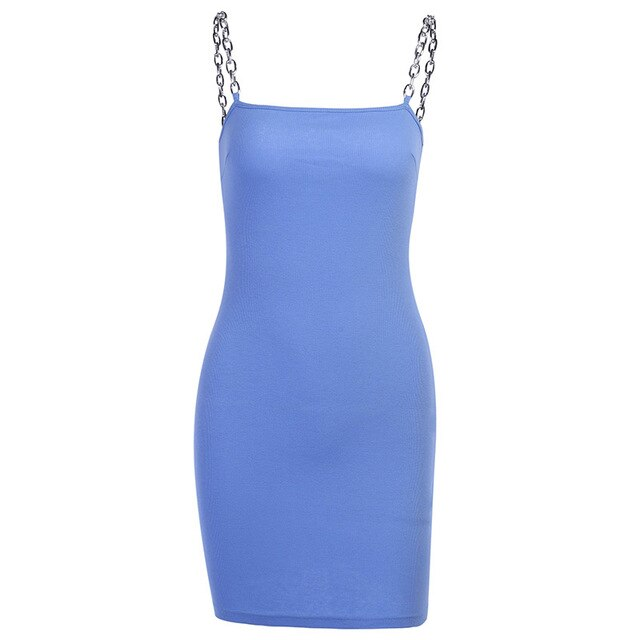 Blue Chain Mini Dress - Own Saviour - Free worldwide shipping